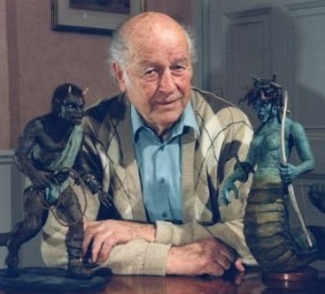Ray Harryhausen with two of his creations, Calibos and Medusa, from the 1981 fantasy film Clash of the Titans.