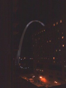 A picture of the St. Louis Gateway Arch at night. I took this photo on our last trip there (from the hotel, not the highway).
