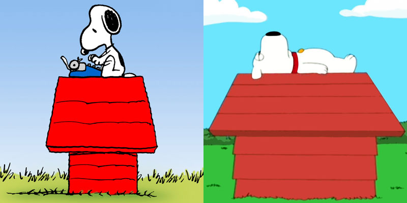 Snoopy (from Peanuts) and Brian (from Family Guy)
