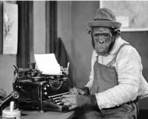 Chimp at typewriter